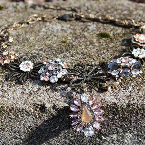 [5/$25] Floral Gem Rhinestone Statement Necklace